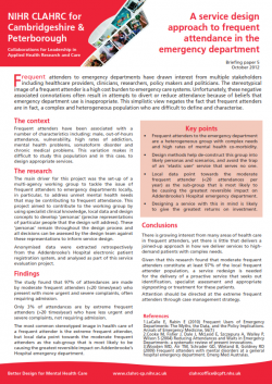 CLAHRC CP UPDATE: A service design approach to frequent attendance in the emergency department