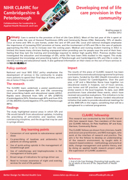CLAHRC CP UPDATE: Developing end of life care provision in the community