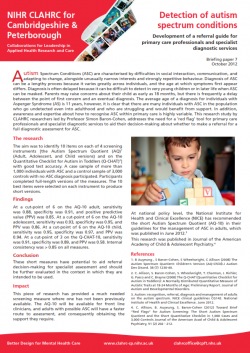 CLAHRC CP UPDATE: Development of a referral guide for Autism Spectrum Condition for primary care